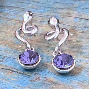 Purple Crystal Snake Earrings   e5